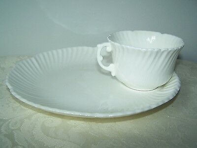 Beautiful Hammersley Bone China White Snack Set - 8'' Plate With Cup Ring & Cup