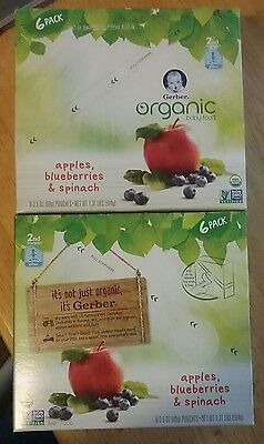 Gerber Organic 2nd Foods 12 Pouches Fruit and Veggie Apple, Blueberry & Spinach