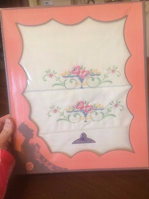 "2 VTG Pillowcases Embroidered Floral Boxed Set EXCELLENT Lot 31"" x 20"""
