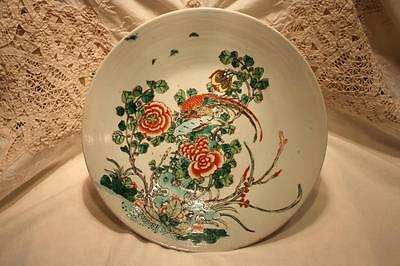 Large Antique Chinese Famille Verte Porcelain Dish Qing Dynasty 18/19th Century