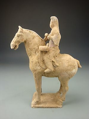 Ancient Chinese Tang Dy Terracotta Red Pottery Horse And Music Drums Rider