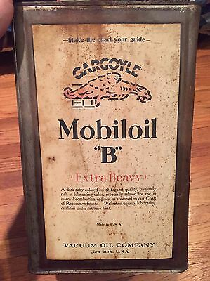 Vintage Gargoyle 5 Gallon Motor Oil Can Mobiloil B Old Petroliana Auto Collector