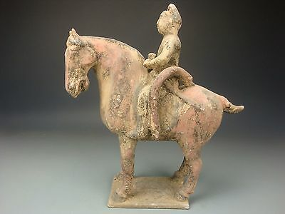 Ancient Chinese Fine Treasures Valuable Tang Dynasty Pottery Horse And Rider