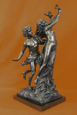 Signed Bernini Apollo and Daphne Bronze Sculpture Mythical Marble Base Figurine