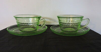 """2 Bright Green Roulette """"many Windows"""" Pattern Cups And Saucers"""