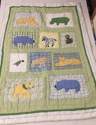 Pottery Barn Kids At The Zoo Quilt Crib Toddler Size Blanket