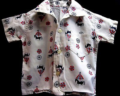 Antique Vintage boys shirt circus horse 1940's or 1950's