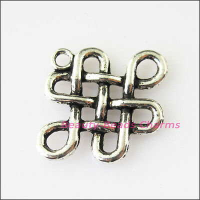 8 New Flower Chinese Knot Tibetan Silver Tone Charms Pendants 19x23.5mm