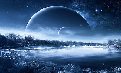 Modern Art Home Office wall Decor Fantasy landscape Planet Print Painting canvas