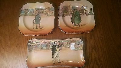 Royal Doulton Tony Weller, Mr Micawber Square Plates and 1 Capn CUTTLE PLATTER