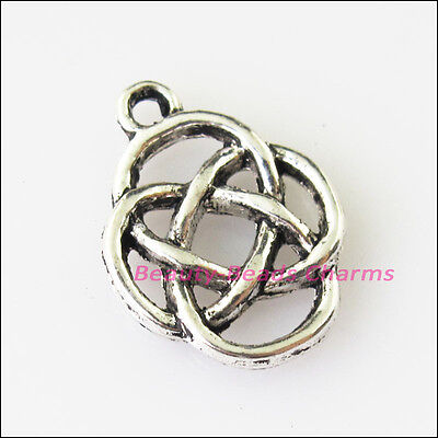 12 New Flower Chinese Knot Tibetan Silver Tone Charms Pendants 13x17.5mm