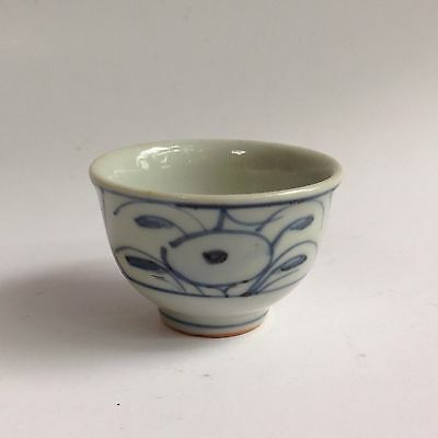 Small Japanese Sake Cup, Hand Decorated with Blue & White Glaze