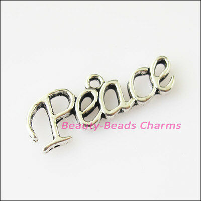 10 New Peace Words Tibetan Silver Tone Charms Pendants 9.5x27mm
