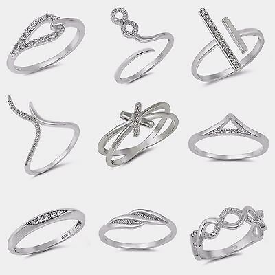 NEW! FASHION Sterling Silver- 2-BAR, INFINITY, V-SHAPE, CRISSCROSS  SIZES 4-10
