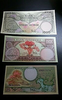 indonesia 1959 lot of three 25,100 and 1000 rupiah