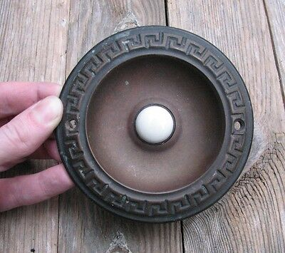 Antique Brass Door Bell Push with Greek Key Pattern