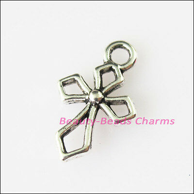 25 New Tiny Chinese Knot Cross Tibetan Silver Tone Charms Pendants 10x17.5mm