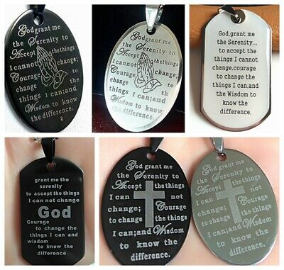 60x Top Mix of Serenity Prayer Bible Stainless Steel Pendant Necklaces W/Chain
