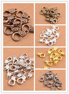 10Pcs Gold Silver Plated Bronze Copper Charms Lobster Clasps 17x10MM A3135