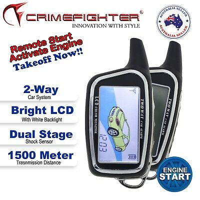 NEW CRIMEFIGHTER CF500 2 Way Real Time Monitoring Remote Engine Start Car Alarm