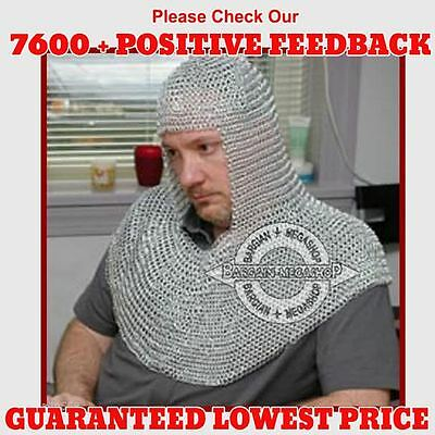 Chain mail Coif Round-neck Chainmail Armour Chain-mail hood z@#5