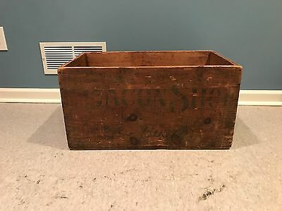Large Vintage Wooden Advertising Box Crate - BACON SHOE BOSTON