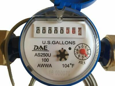 "DAE AS250U-100P 1"" Water Meter,Pulse Output,Measured in Gallon+couplings"