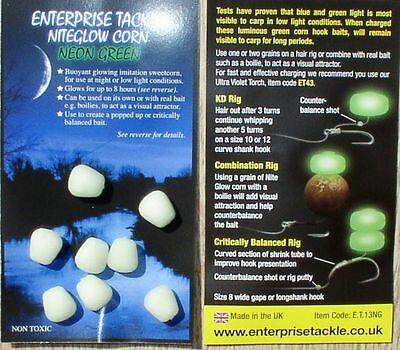 Enterprise Tackle Niteglow Sweetcorn - Neon Green, Floating Mais Imitate
