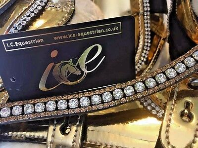 Bling Browband Mega Sparkly 3 Rows Gold & Clear