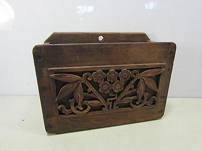 Antique Oak Carved Wall Box for Flowers or Decor Use