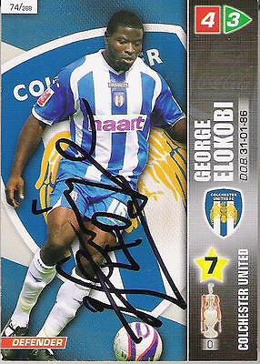 A Panini 2008 card. Personally signed by George Elokobi of Colchester United.