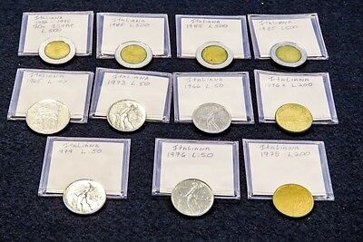 Lot of 11 Mixed Italian Coins Lira Lire Repubblica Italiana 1965-1985