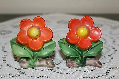 Vintage..ceramic...orange Flowers...salt & Pepper Shakers...japan