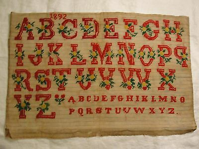 Antique Needlepoint  Petit Point alphabet; red dated 1892; vintage embroidery