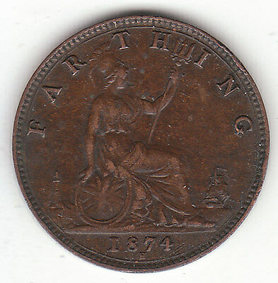 1874-H Great Britain Queen Victoria 1 One Farthing.  Nice Grade.