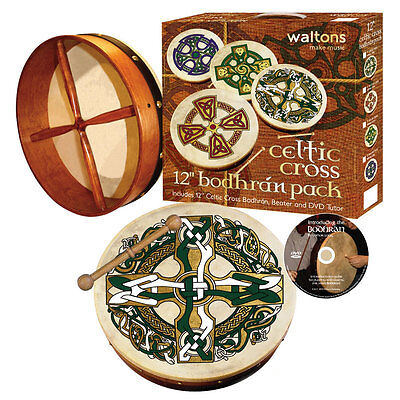 """Walton's Pack With 12"""" Bodhran With Celtic Cross Design"""