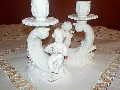 Italian Porcelain, Antique, Candle Holders, White