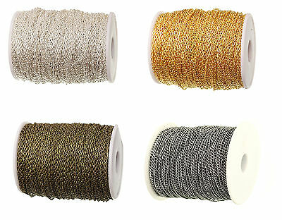 Fine Metal  Chain Oval Link Jewellery Making Chain Finding 4 Colors 3 X 2 mm UK