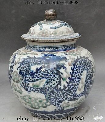 "9"" Marked china old Porcelain Dragon Phoenix Lucky statue Tank Crock pot Jar Jug"