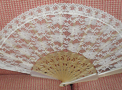Vintage Ivory Lace Hand Fan w/Pearlescent frame -- Ready to Use or Frame!