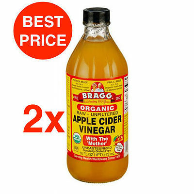2 X BRAGG ORGANIC APPLE CIDER VINEGAR 473ml - RAW WITH THE MOTHER