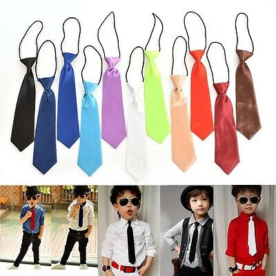Boy Tie Kids Baby School Boy Wedding Necktie Neck Tie Elastic Solid GT