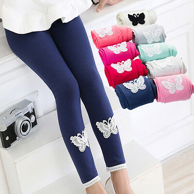 Kids Girls Tight Pants Lace Butterfly Warm Stretchy Leggings Trousers LWY