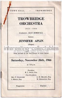 TROWBRIDGE 1966 Orchestra Programme with Adverts - Wiltshire