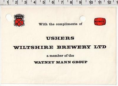 Trowbridge Ushers Wiltshire Brewery Compliment Slip - Watney Mann Group