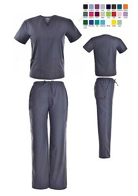 Medical Nursing Scrub Set Men Women Unisex V-Neck 3 Pocket Top with Cargo Pants