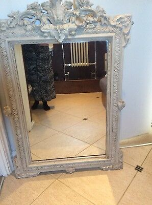 Antique distressed crested French 19th century mirror Louis style