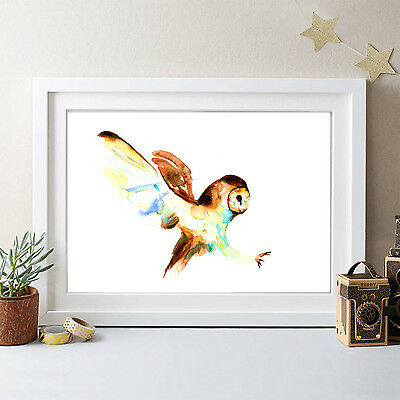 Original Watercolour Owl Print Signed By Artist ,watercolor ,banksy Pop Art