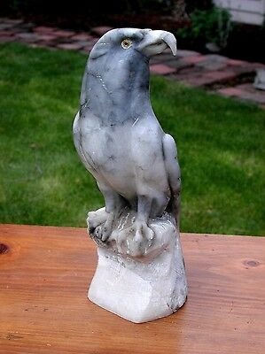 ANTIQUE CARVED EAGLE STATUE MARBLE ART SCULPTURE Italian Carrara Carving 12""