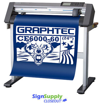 "24"" Graphtec CE6000-60 Vinyl Cutter Plotter w/ Stand Making Signs - Refurb"